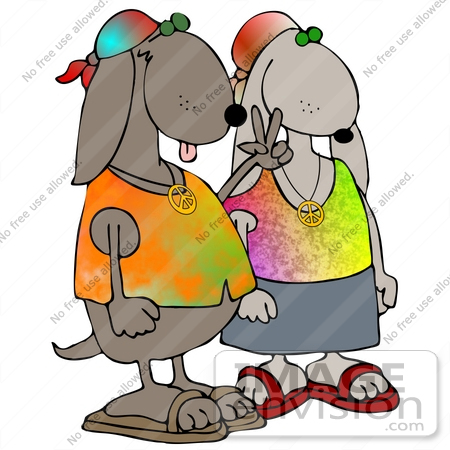 450x450 Clip Art Graphic Of A Hippie Dog Couple Wearing Tie Dye Shirts