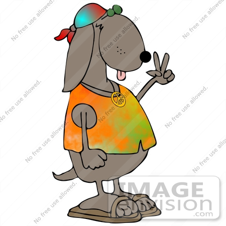450x450 Clip Art Graphic Of A Hippie Dog In A Tie Dye Shirt And Sandals