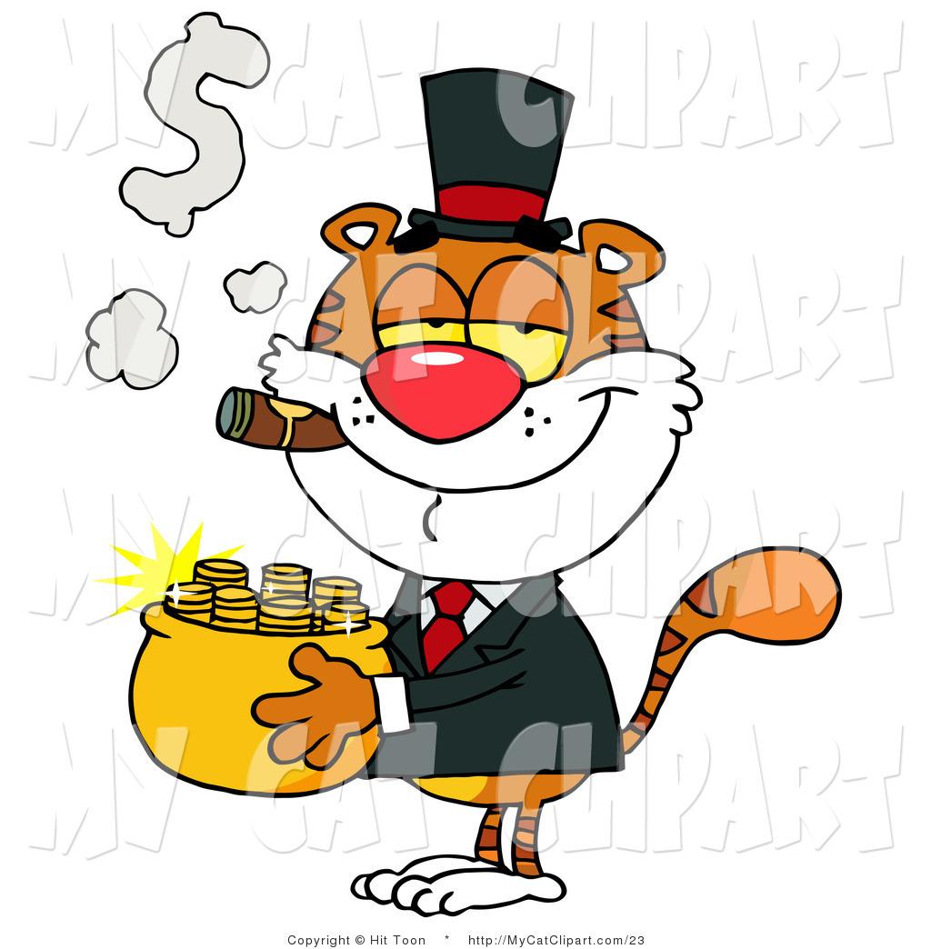 1024x1044 Cliprt Of Smug Tiger Carrying Pot Of Goldnd Smoking