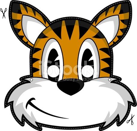 457x439 Kids Tiger Mask Stock Vector