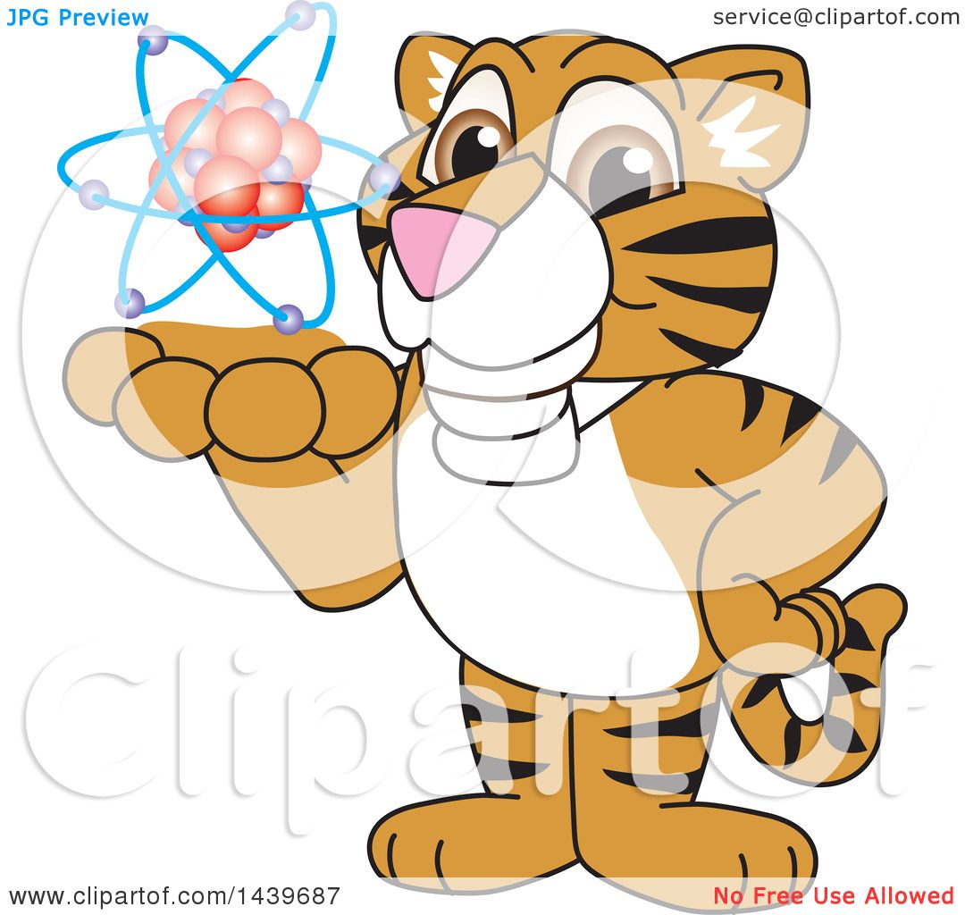 1080x1024 Clipart Of A Tiger Cub School Mascot Character Holding An Atom