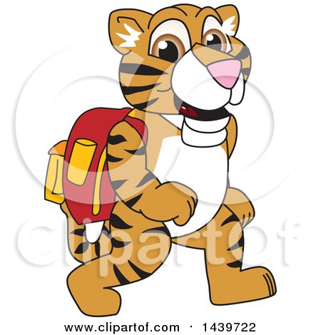 450x470 Clipart Of A Tiger Cub School Mascot Character Leaning