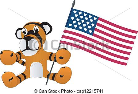 450x305 Toy Tiger Cub With Flag Eps Vector
