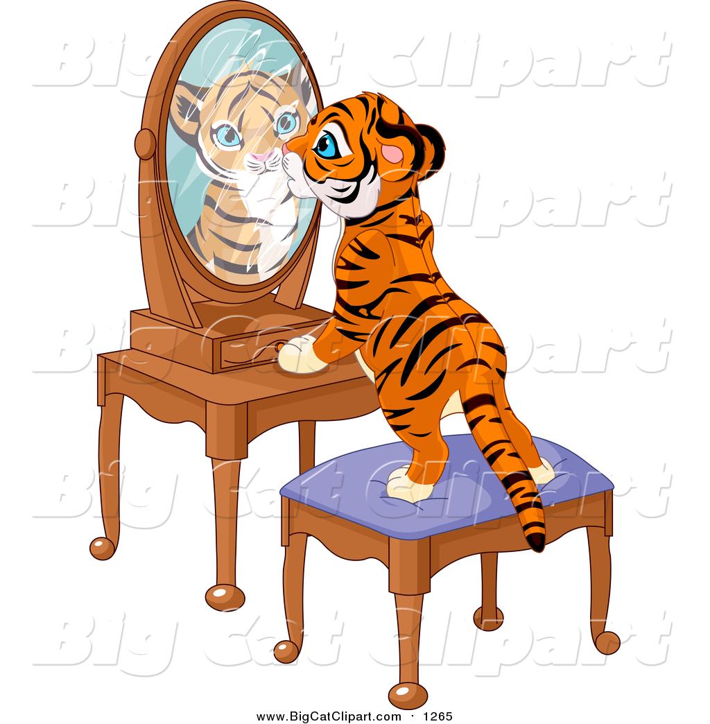 1024x1044 Big Cat Vector Clipart Of A Tiger Cub Standing On A Stool