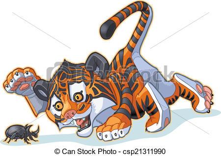 450x317 Cartoon Tiger Cub And Beetle. Vector Cartoon Clip Art Eps