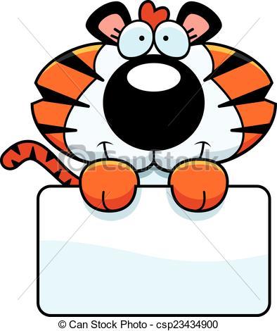 394x470 Cartoon Tiger Cub Sign. A Cartoon Illustration Of A Tiger
