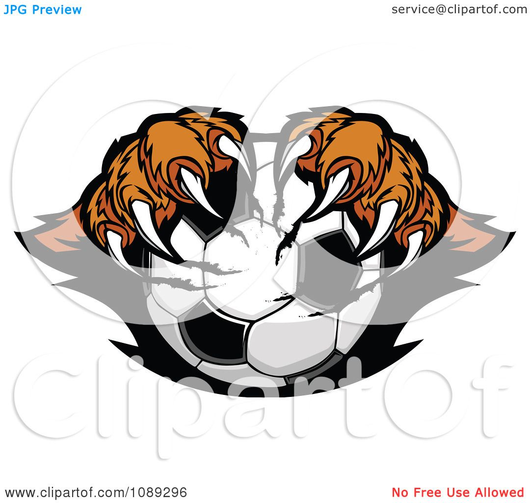 1080x1024 Clipart Tiger Mascot Clawing A Soccer Ball
