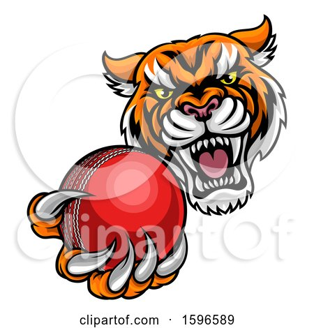 450x470 Clipart Of A Vicious Tiger Sports Mascot Grabbing A Cricket Ball