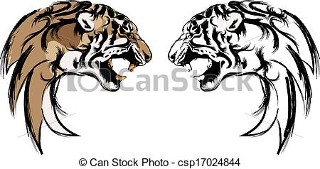 450x238 Vector Of Logo Tiger Head Drawing