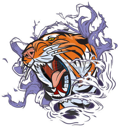 421x450 Small Roaring Tiger Head Clipart