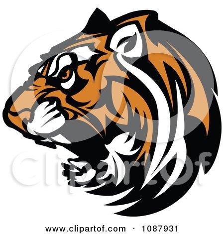 450x470 Clipart Cute Tiger Mascot Head