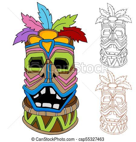 450x470 An Image Of A Tiki Tribal Idol Cartoon Drawing Set. Clip Art