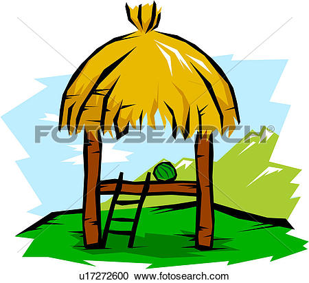450x411 Thatched Hut Clipart