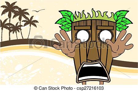 450x299 Tiki Hawaiian Mask Cartoon Summer7. Tiki Hawaiian Mask Vector
