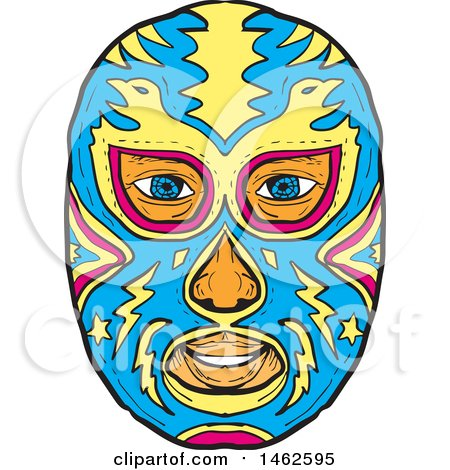 450x470 Clipart Of A New Zealand Maori Koruru Tiki Mask In Black And White