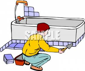 300x249 Clipart Image A Man Putting Tile In A Bathroom