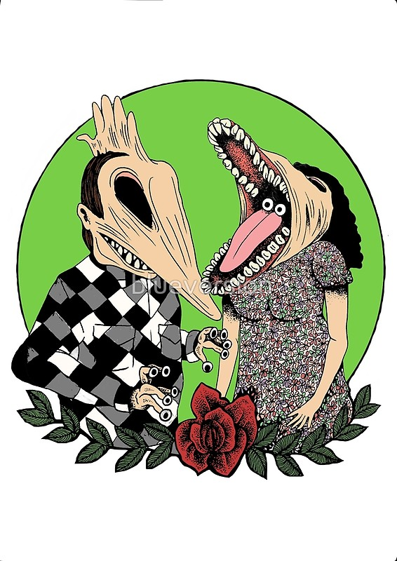 566x800 Beetlejuice Inspired Monster Couple Halloween 80's Goth Tim Burton