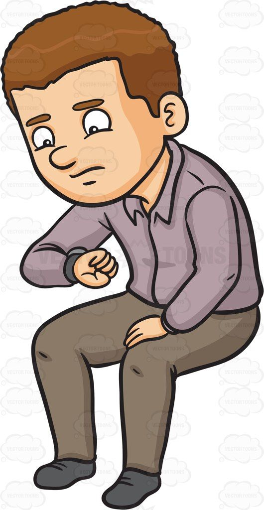 530x1024 A Man Looking Worried While Looking At The Time Time Cartoon