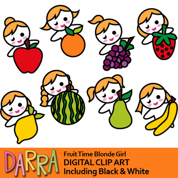 350x350 Blonde Girls Fruit Time Clipart (Planner Stickers Clip Art) By