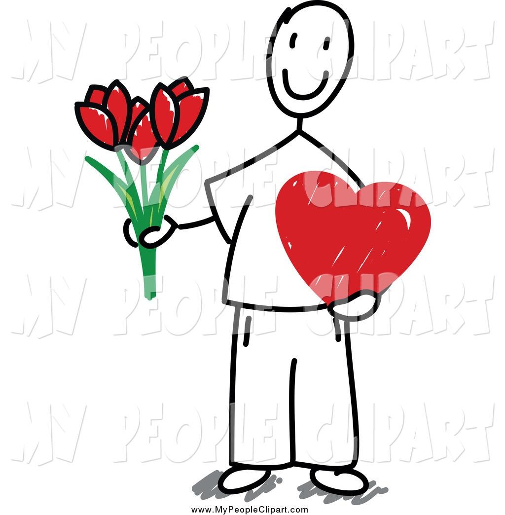 1024x1044 Cliprt Cliprt Of Valentine Stick Man Holding Flowersnd