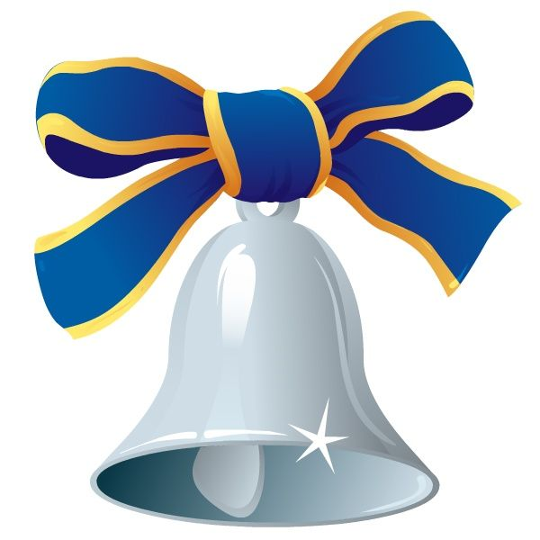 600x600 Christmas Bell And Blue Ribbon Clip Art Clip Art