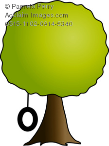 224x300 Clip Art Illustration Of A Simple Shade Tree With A Tire Swing