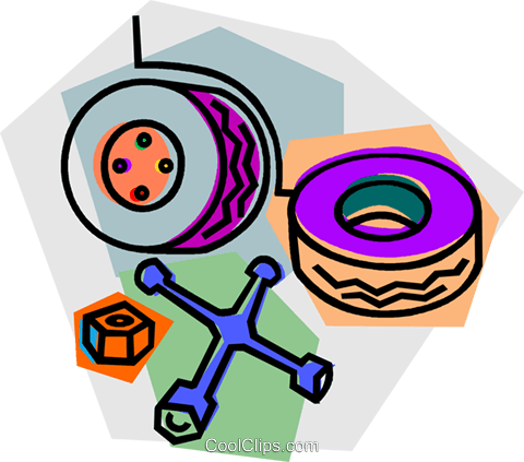 480x423 Changing A Flat Tire Royalty Free Vector Clip Art Illustration