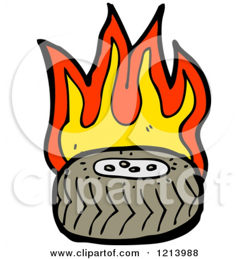980x1024 Royalty Free Rf Burning Tire Clipart Illustrations Vector Graphics