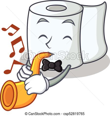 446x470 With Trumpet Tissue Character Cartoon Style Vector Clip Art
