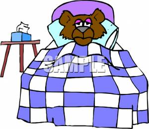 300x261 A Sick Bear Laying In Bed, With A Box Of Tissue Next To Him