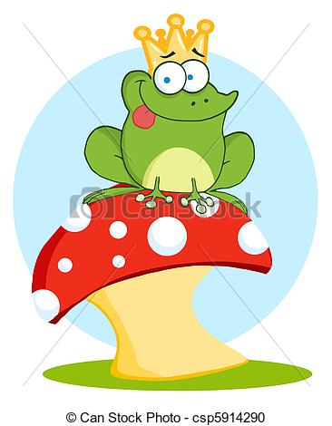 366x470 Frog Prince On A Toadstool. Frog Prince Sitting On A Vector