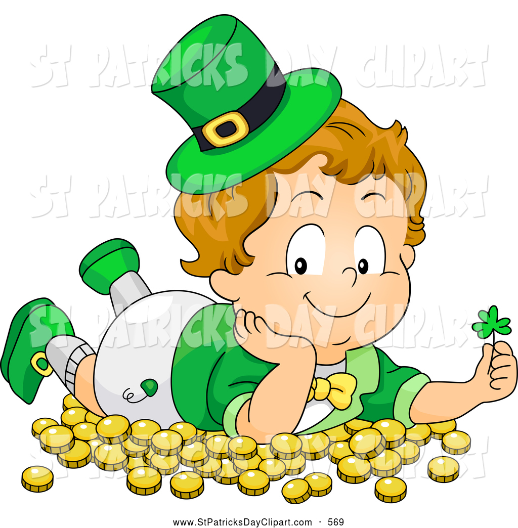 1024x1044 Clip Art Of A St Patricks Day Leprechaun Toddler Laying In Gold