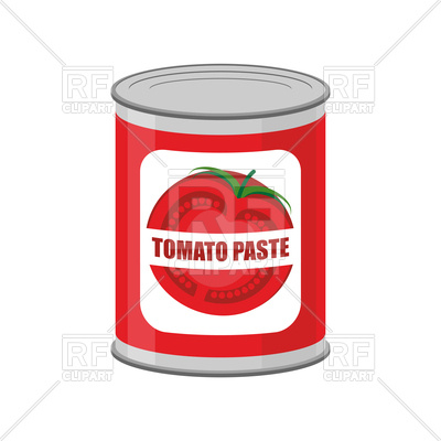 400x400 Tomato Paste Tin Can. Canned Tomatoes. Royalty Free Vector Clip
