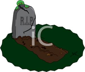300x255 A Zombie Looking Out Behind A Cracked Headstone Clipart Image
