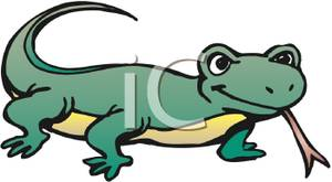 300x165 Clip Art Image A Lizard With Its Tongue Out