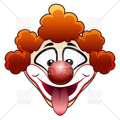 400x400 Clown's Head With Tongue Out Royalty Free Vector Clip Art Image