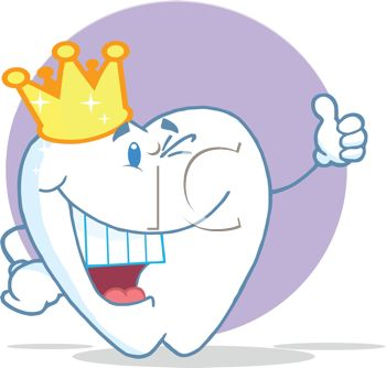 350x334 Picture Of Smiling Happy Cartoon Tooth Wearing Crown In