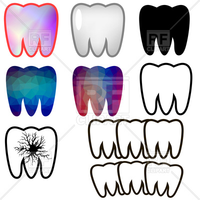 400x400 Set Of Rotten And Healthy Teeth Royalty Free Vector Clip Art Image