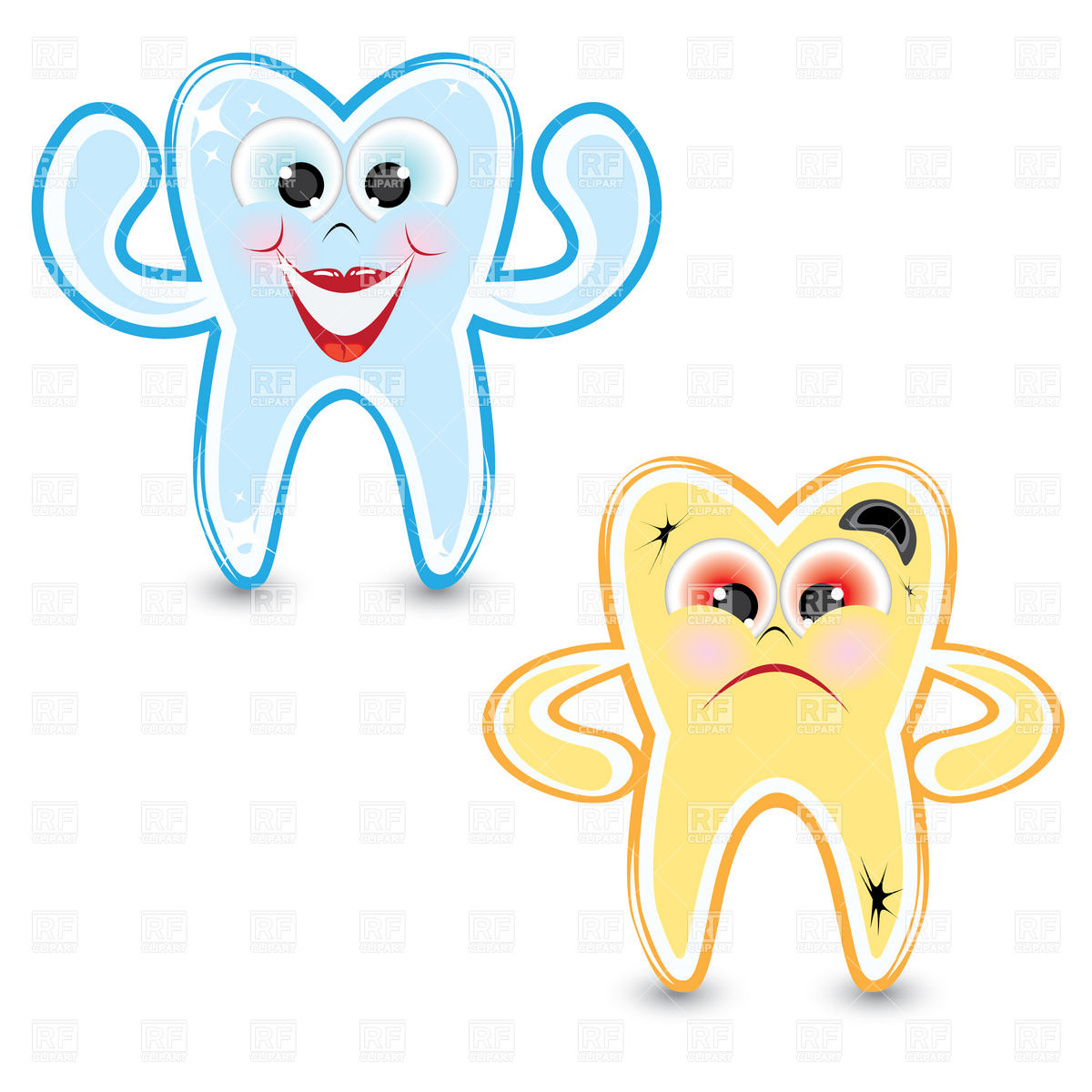 1200x1200 Cartoon Healthy And Diseased Tooth Royalty Free Vector Clip Art
