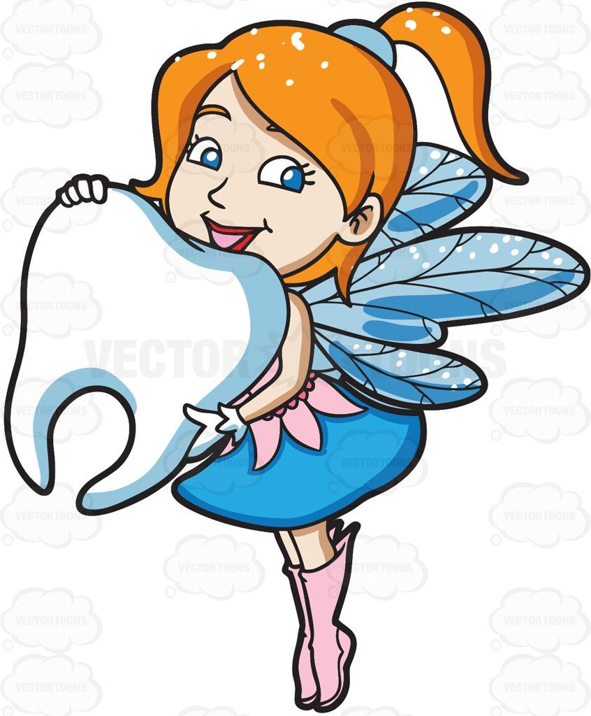 846x1024 A Charming Fairy Holding A Big Tooth Tooth Cartoon
