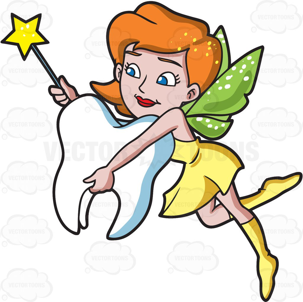 1024x1019 A Fairy Hugging A Tooth Cartoon Clipart Vector Toons