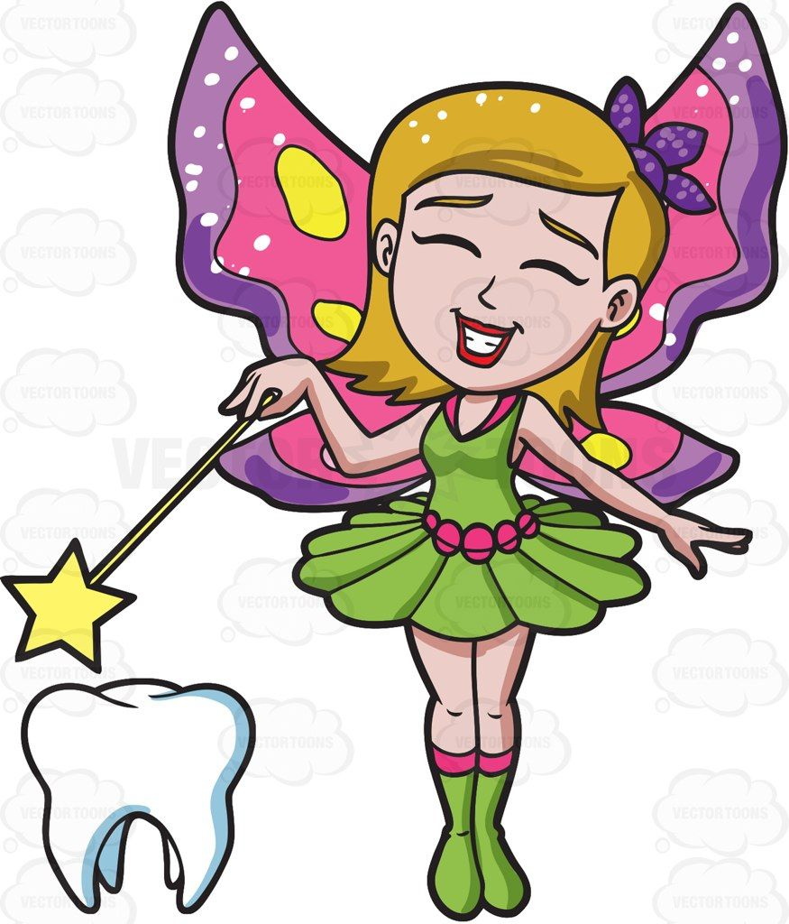 875x1024 A Happy Fairy Casting Magic On A Tooth Tooth Cartoon