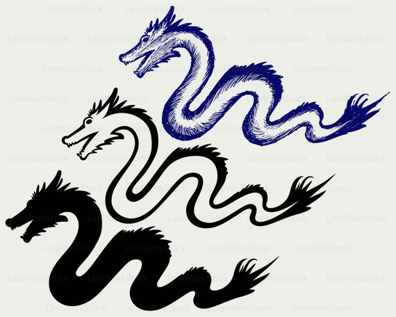 570x456 Chinese Dragon Svgdragon Clipartsnake Svgdragon Silhouette