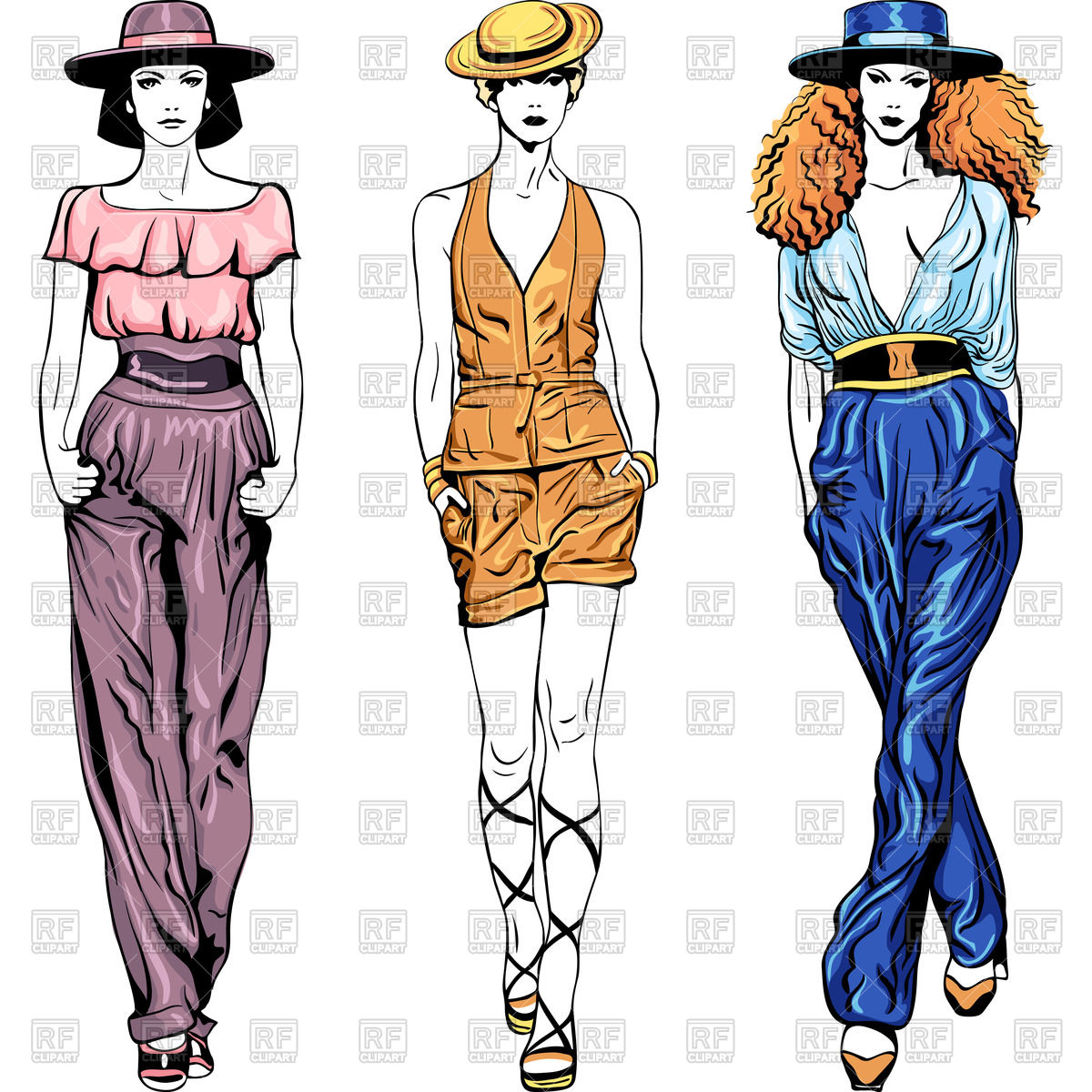 1200x1200 Fashion Top Models Girls In Trouser Suits And Hats Royalty Free