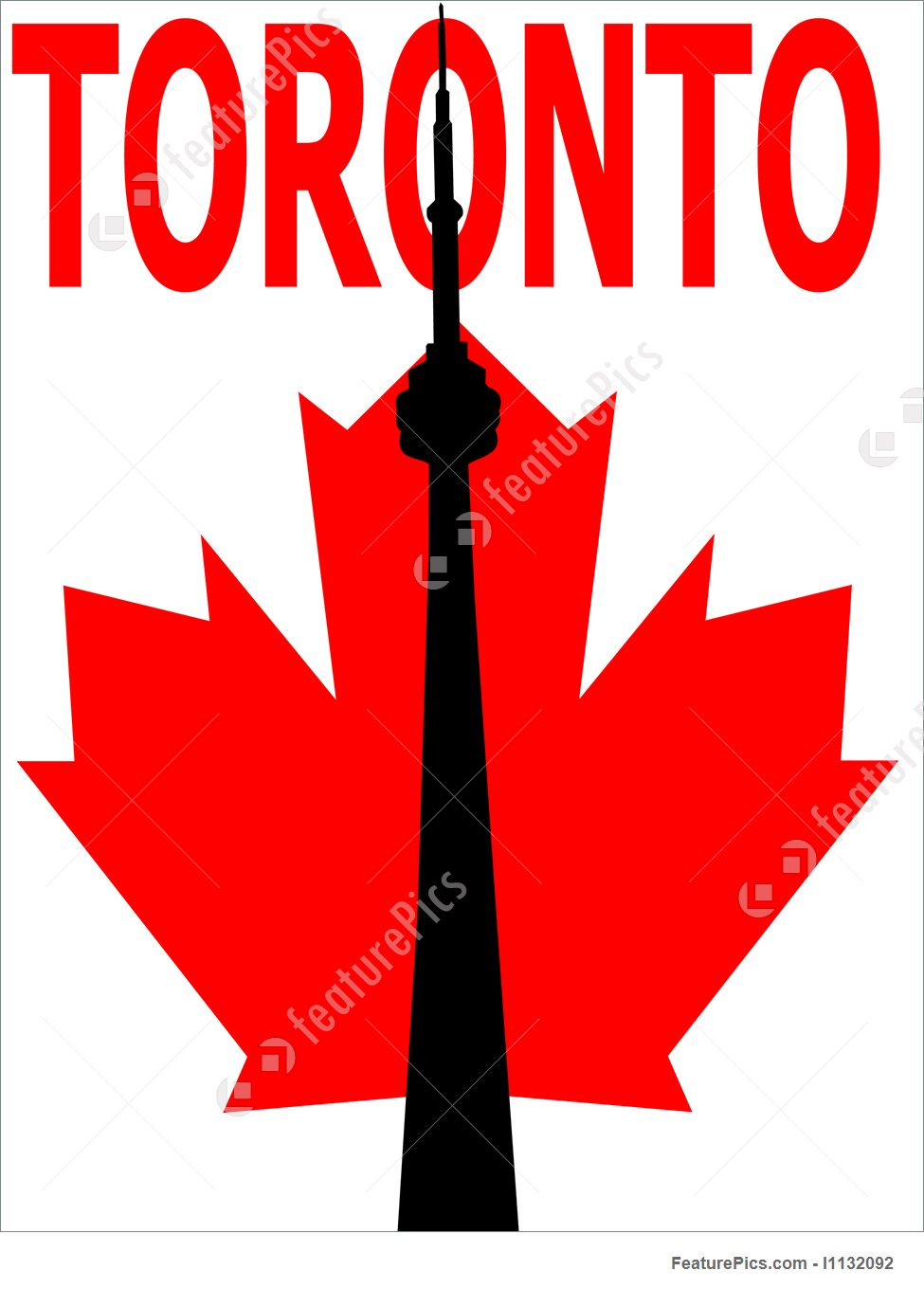 975x1360 Cn Tower And Maple Leaf Illustration
