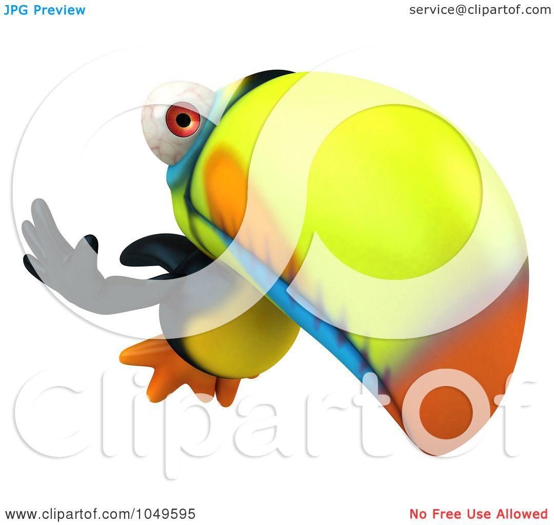 1080x1024 Royalty Free (Rf) Clip Art Illustration Of A 3d Toucan Bird Waving