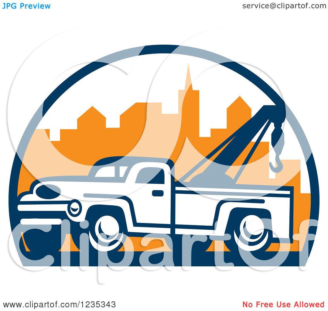 1080x1024 Clipart Of A Retro Tow Truck Over A City
