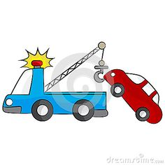 236x236 Retro Clipart Of A Blue Toy Tow Truck With A Hook On The Tailgate