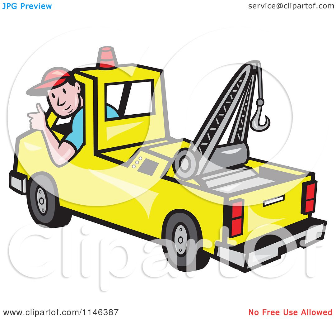 1080x1024 Cartoon Of A Happy Tow Truck Driver Holding A Thumb Up