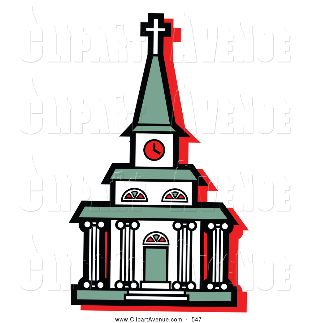1024x1044 Avenue Clipart Of A Religious White Church With A Clock Tower